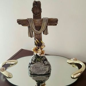 Other - Resin Christ is Risen cross and display mirror